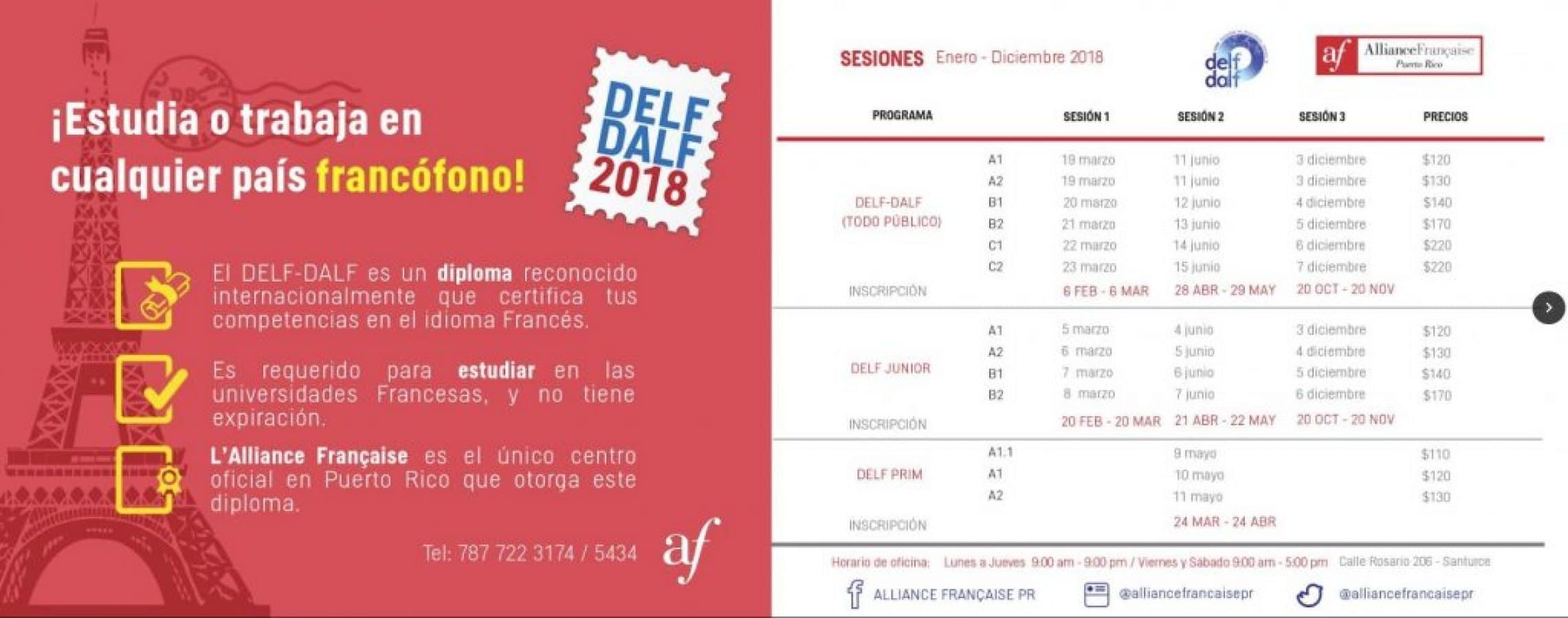 Calendario de clases y exámenes de la Alianza Francesa en Saturce Puerto Rico