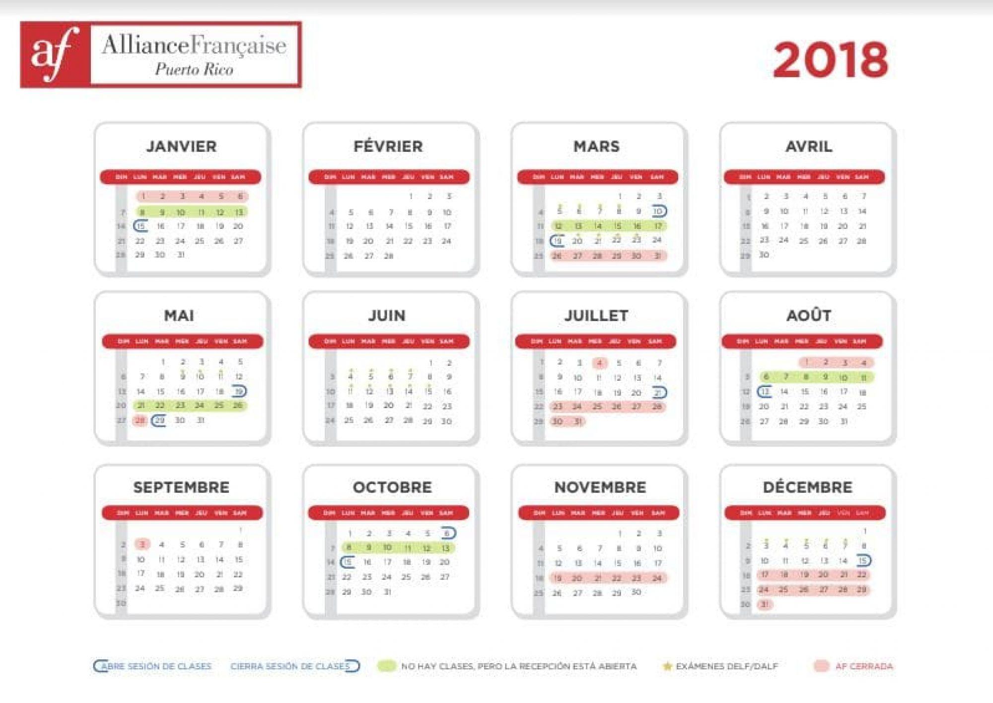 Calendario de la Alianza Francesa de Puerto Rico