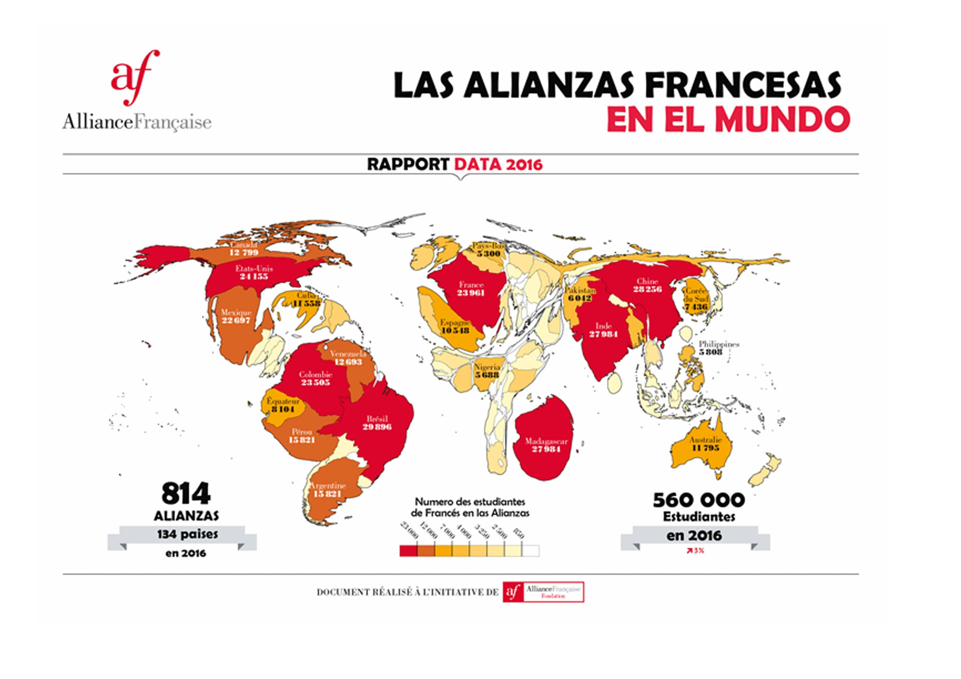 Aprende las diversas localizaciones de las alianzas francesas alrededor del mundo
