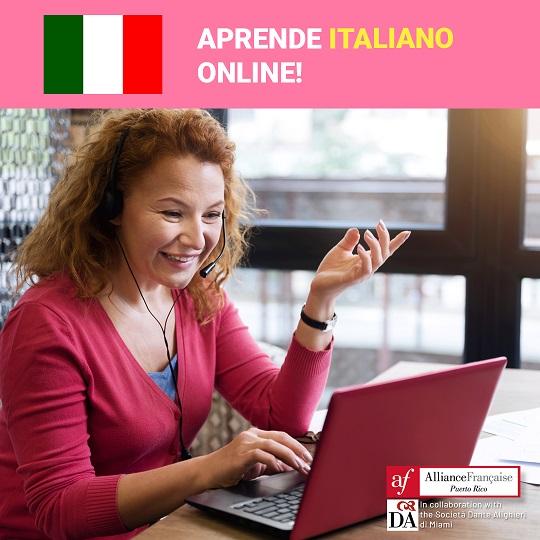 La Alliance Francaise de Puerto Rico ofrece cursos de italiano online.