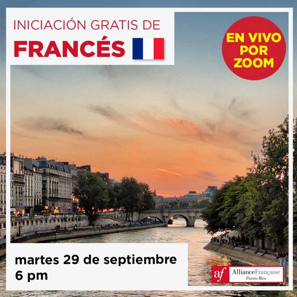 Iniciación gratis de francés - 29 de septiembre de 2020 - en vivo por Zoom