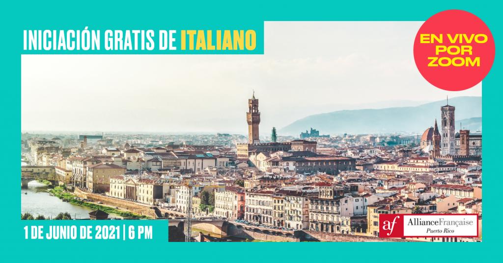 Iniciación gratis de italiano - Alliance Francaise Puerto Rico - 1 de junio de 2021