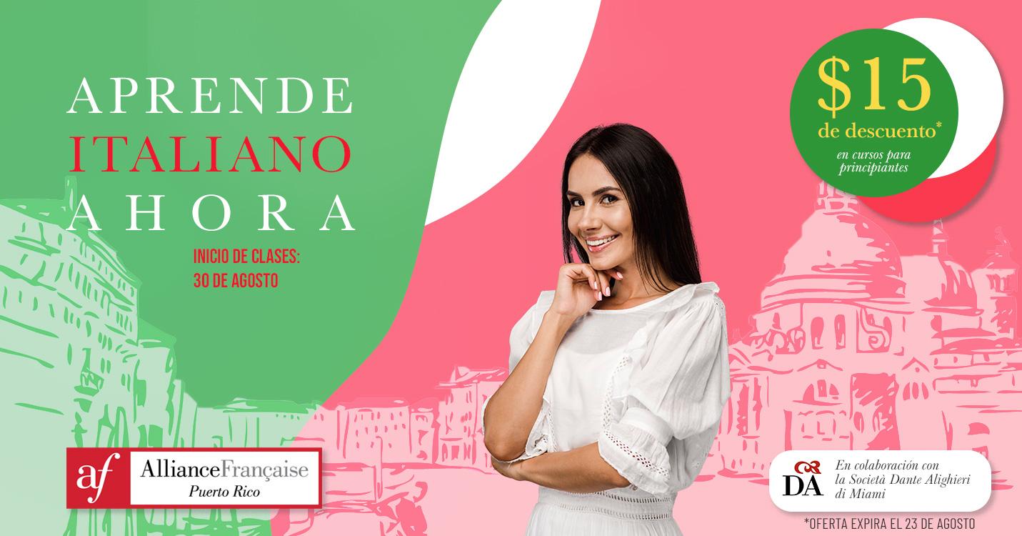 La Alliance Francaise de Puerto Rico ofrece cursos de italiano en colaboración con la Societa Dante Alighieri di Miami